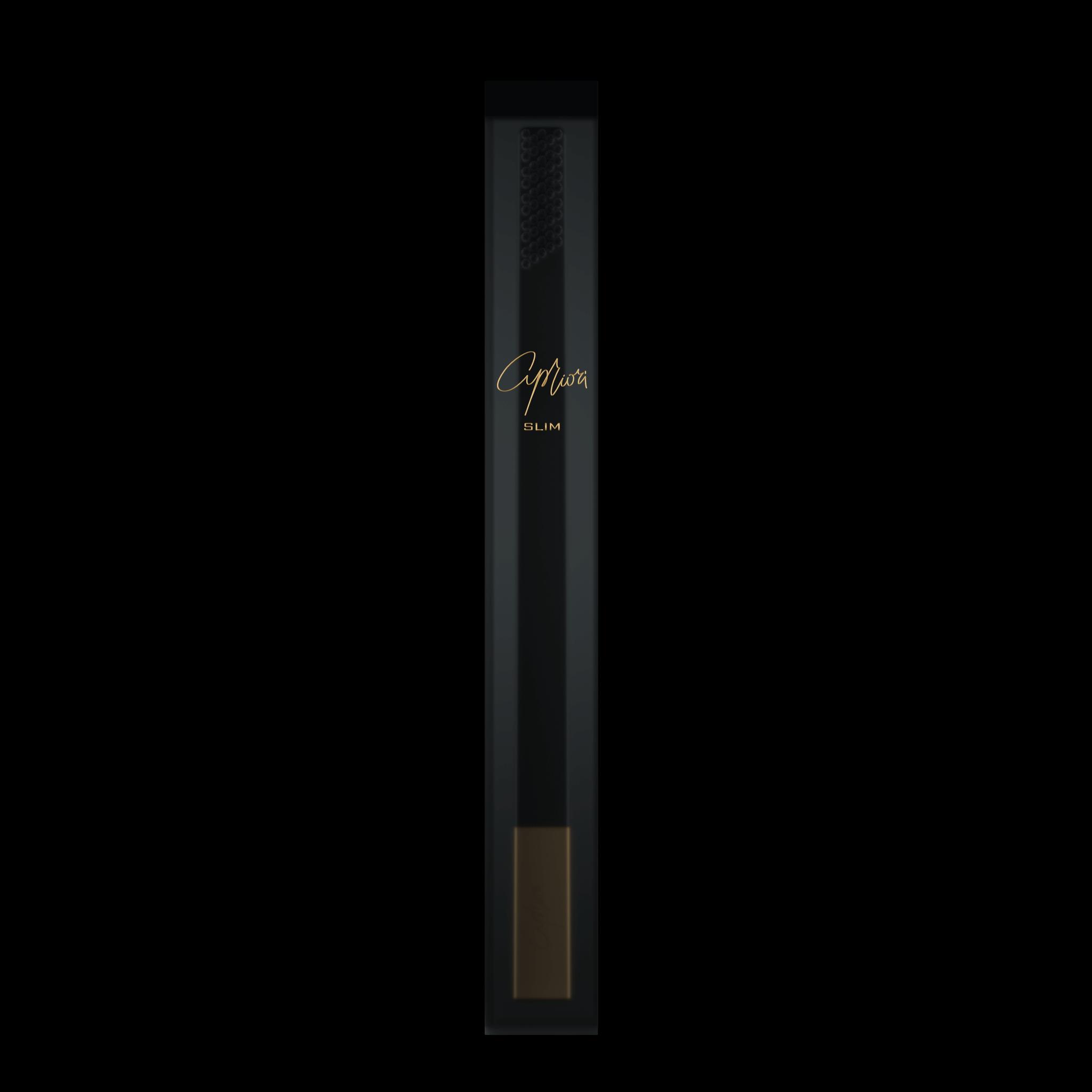 SLIM by Apriori black & gold designer toothbrush package