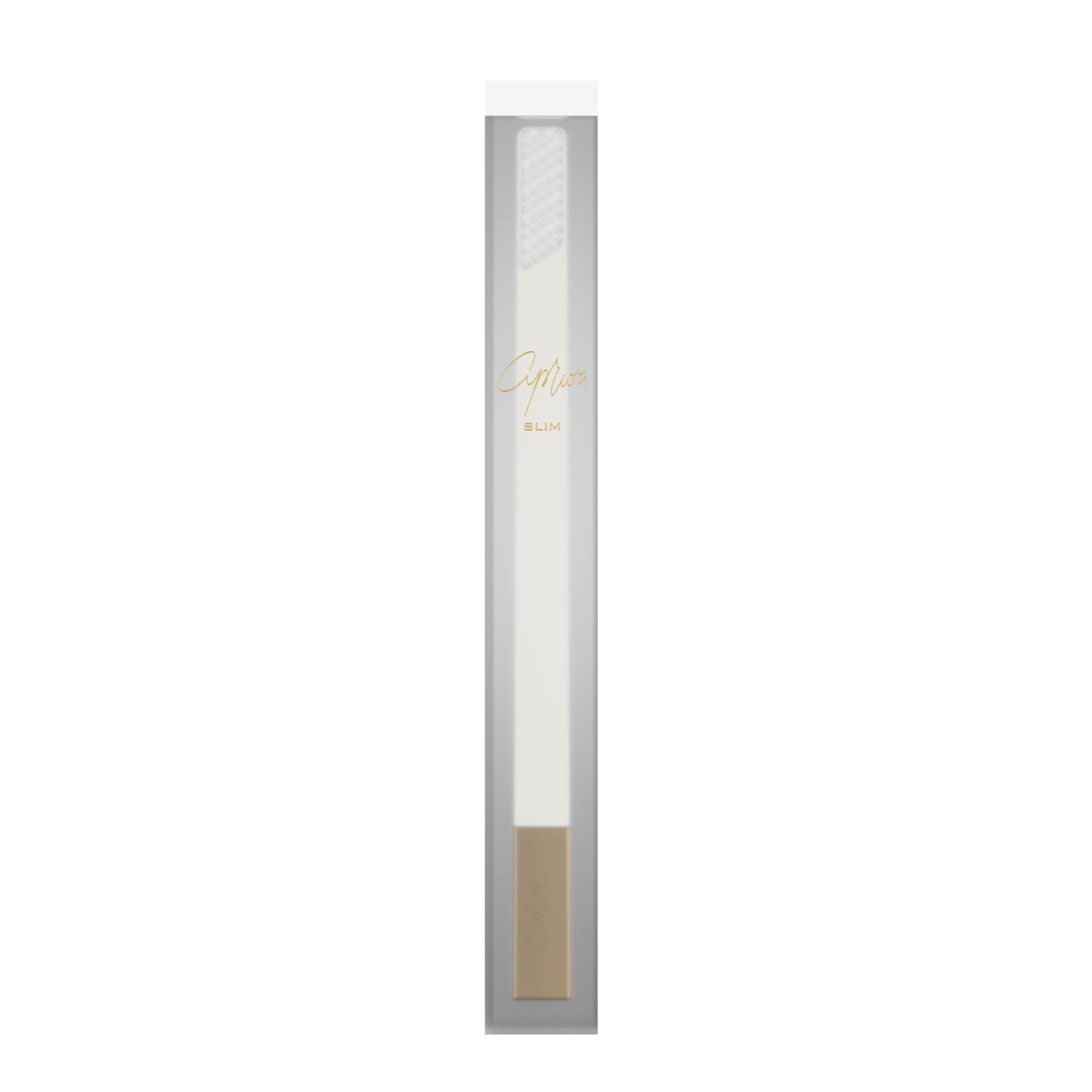 SLIM by Apriori white & gold disposable toothbrush package