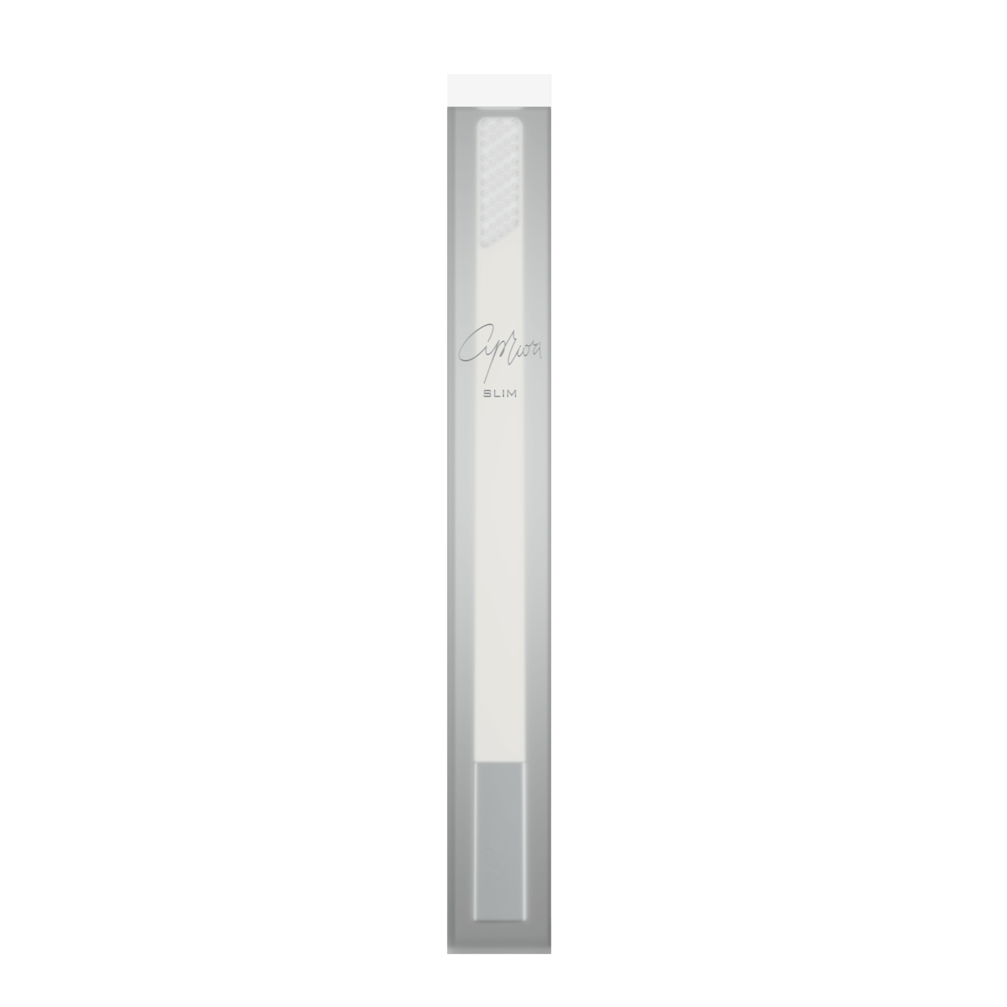 SLIM by Apriori white & silver disposable toothbrush package