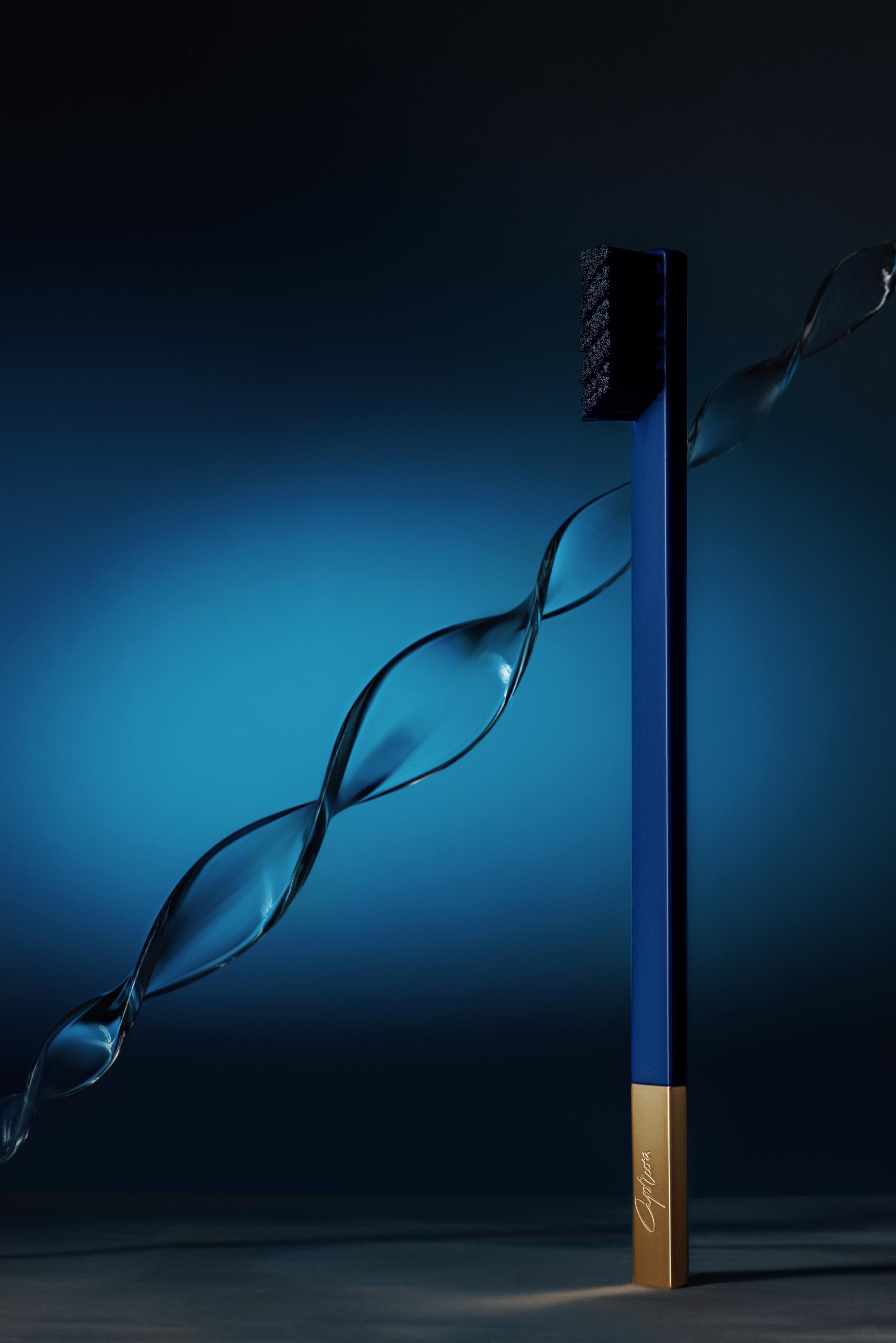 SLIM by Apriori sapphire & gold designer toothbrush